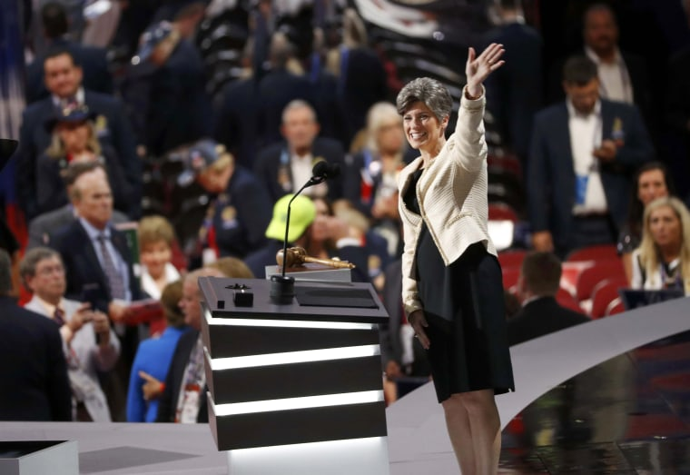 Image: U.S. Senator Joni Ernst of Iowa waves as she arrives to speak at the Republican National Convention in Cleveland, Ohio