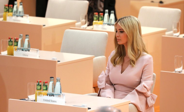Image: Ivanka Trump sits in her original seat at a working session of the G-20 in Hamburg. She briefly moved to President Trump's seat as he left for other meetings.