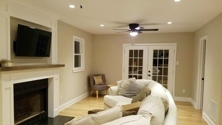 After: The newly renovated living room in Meredith Borrell and Brian Ketcik's house.