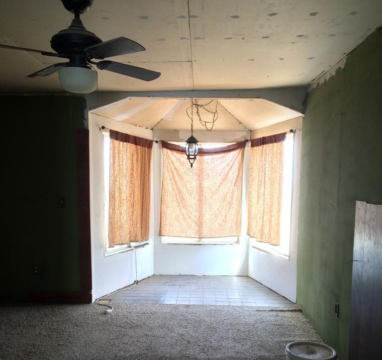 Before: The original living room in Jenna Meister's fixer-upper.