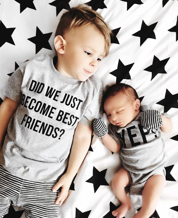 Sloan DeRosier with his big brother, Rowan, age 3.