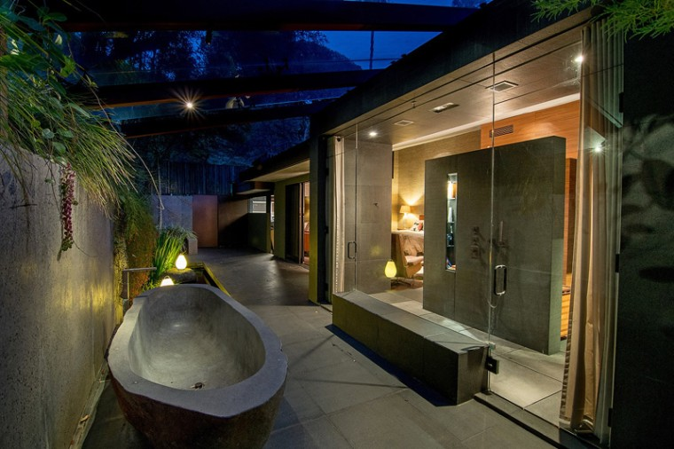 The home boasts a luxurious outdoor spa.