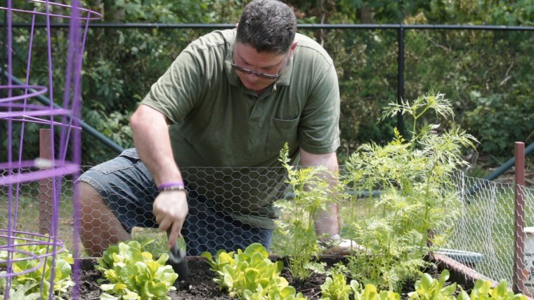 Jeff still enjoys working in his garden.