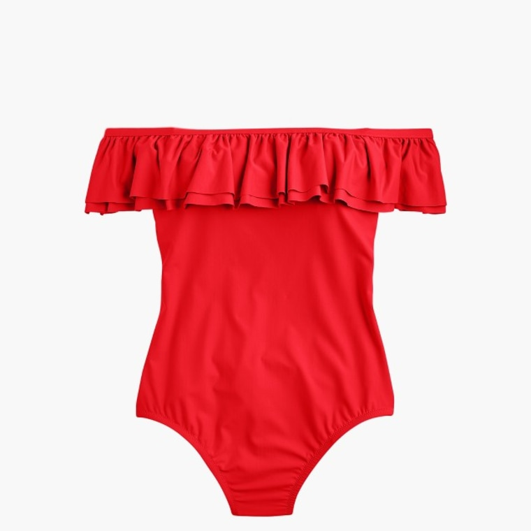 Off-The-Shoulder Ruffle One-Piece Swimsuit