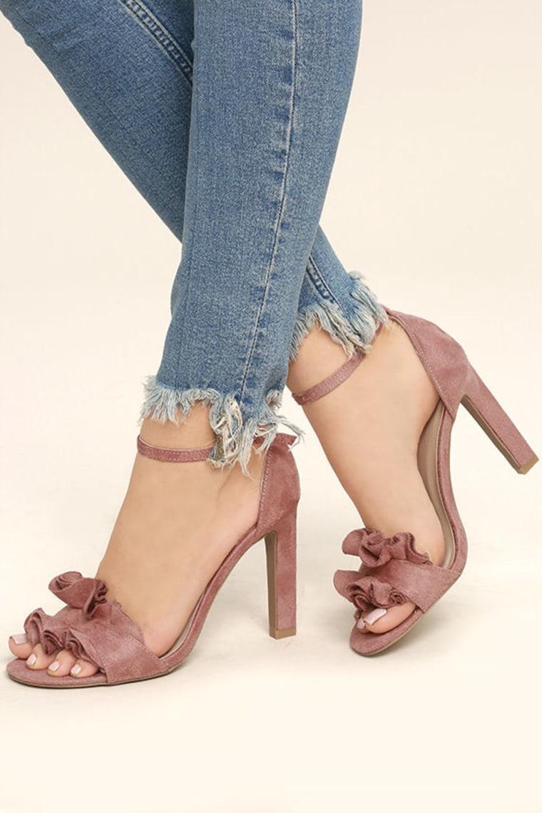 Mauve Suede Ankle Strap Heels