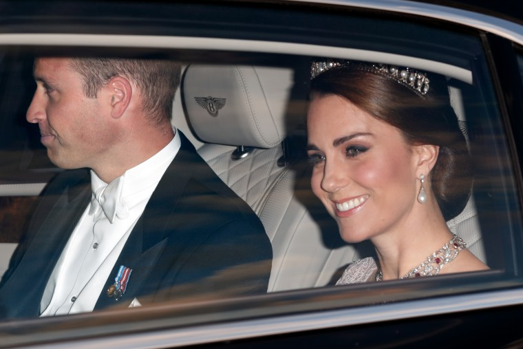 The former Kate Middleton, Duchess of Cambridge, on her way to State dinner with Spain's King And Queen