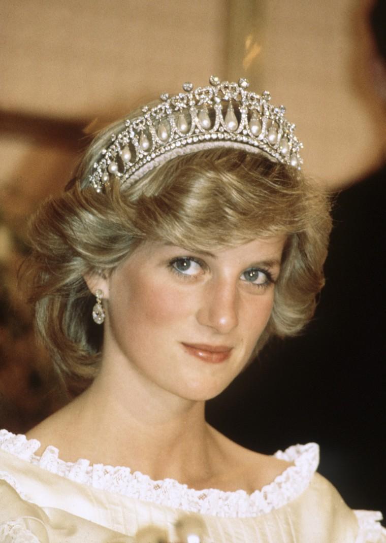 Princess Diana wearing her signature Cambridge Lover's Knot Tiara.
