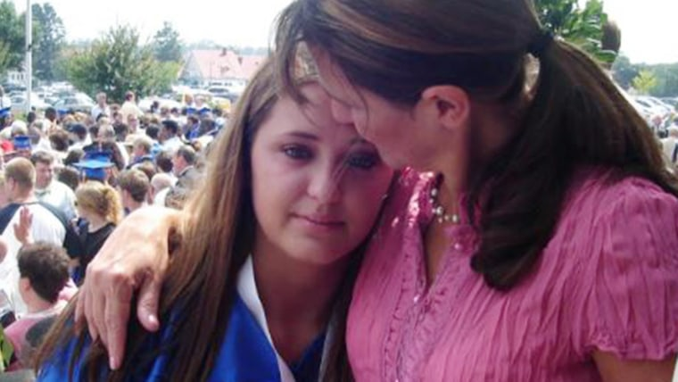 Nadine Murray with her daughter Janis at graduation. Janis committed suicide about a year after this photo.
