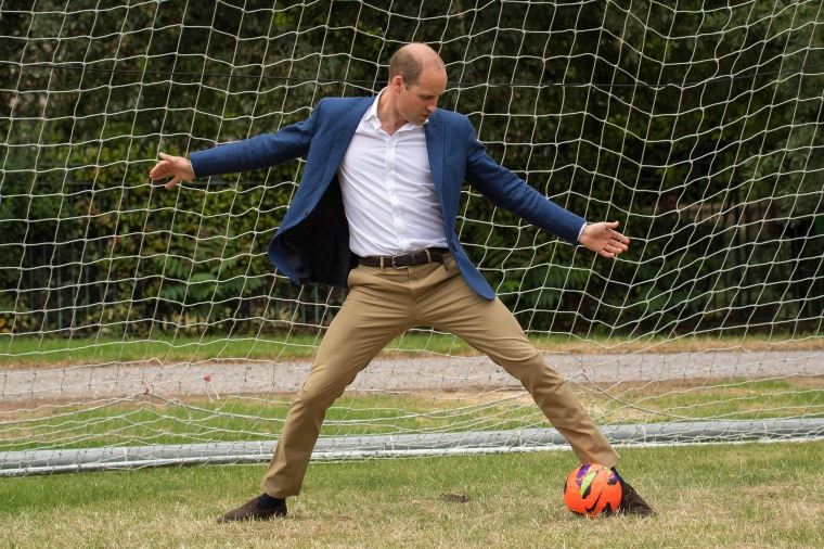 Prince William as soccer goalkeeper