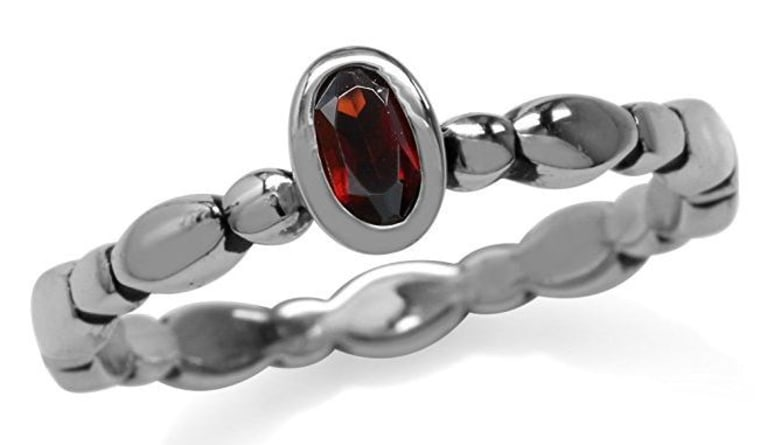 Natural Garnet Sterling Silver Stack/Stackable Solitaire Ring