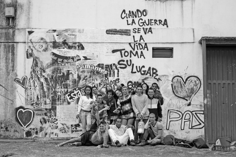A group shot in the midst of work on a transgender art project at La Picota prison in Colombia.