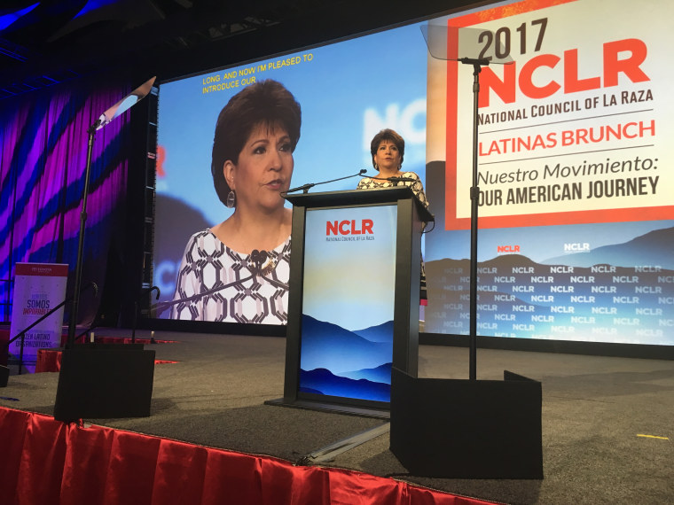 NCLR, which stands for National Council of La Raza, will now be UnidosUS.  In photo, the organization's president and CEO Janet Murguia speaks during the group's annual conference in Phoenix, Arizona on 7/9/17.