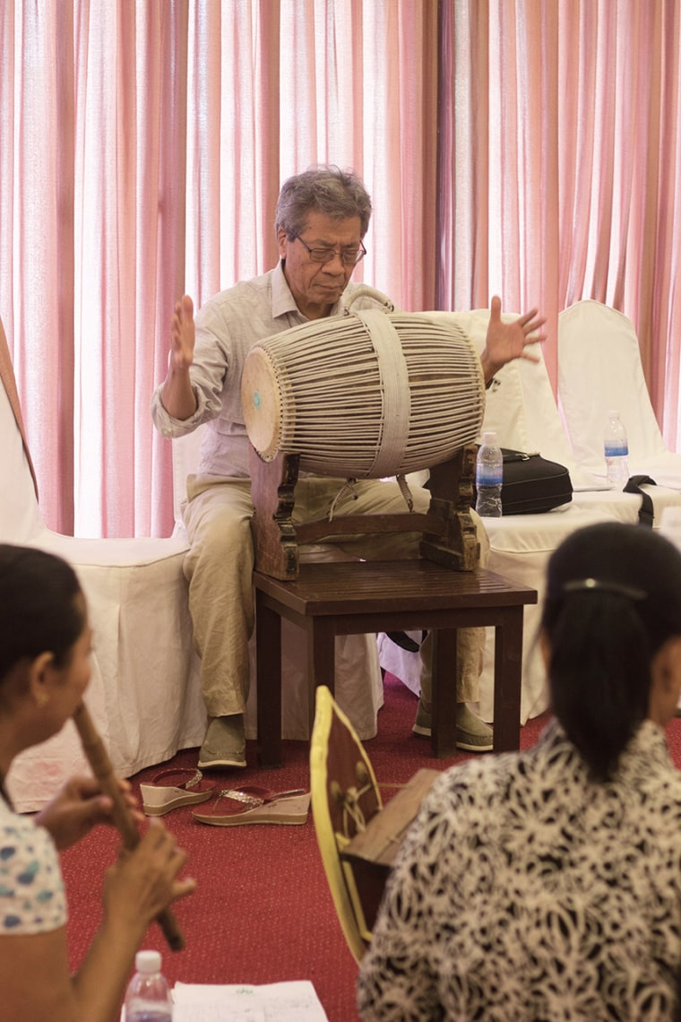 Cambodian-American composer Chinary Ung teaches the 2016 Nirmita Composers Workshop, a precursor of the current program.