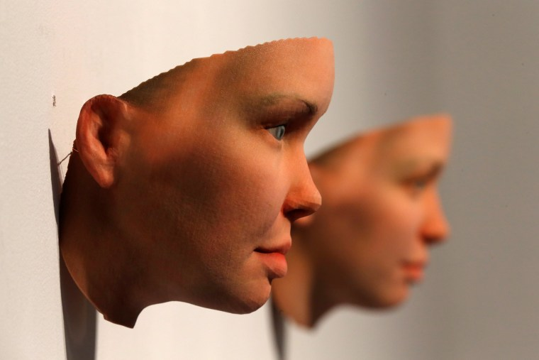 Image: 3-D printed masks created by Artist Heather Dewey-Hagborg from DNA extracted from cheek swabs and hair clippings she received from formerly imprisoned U.S. Army Private Chelsea Manning are seen ahead of exhibition in New York