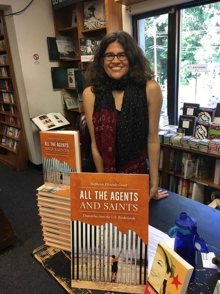 "Image:Author Stephanie Elizondo Griest at the book launch for ""All the Agents and Saints"""
