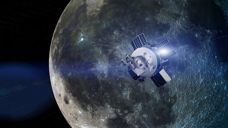 Artist's impression showing the single-stage MX-1E spacecraft descending toward the lunar surface carrying a suite of science and exploration instruments. The MX-1E can deliver up to 66 lbs. (30 kilograms) to the lunar surface, Moon Express representatives said.