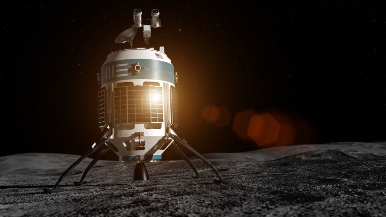 The MX-1E lander sits on the lunar surface in this artist's illustration. Moon Express plans to the launch the MX-1E, which uses eco-friendly fuels, toward the moon later this year.
