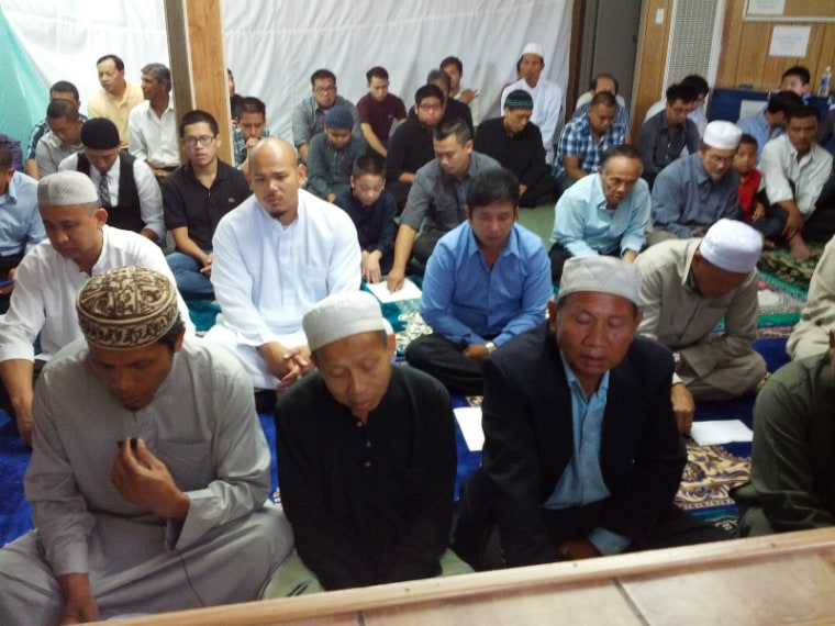 Members of the Islamic Center of Santa Ana pray in their old prayer space.