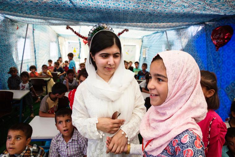 Image: Malala Yousafzai visits children