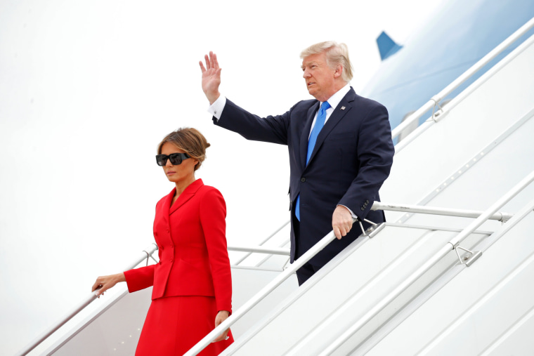 Image: US President Donald Trump and First Lady Melania Trump arrive aboard Air Force One at Orly airport near Paris