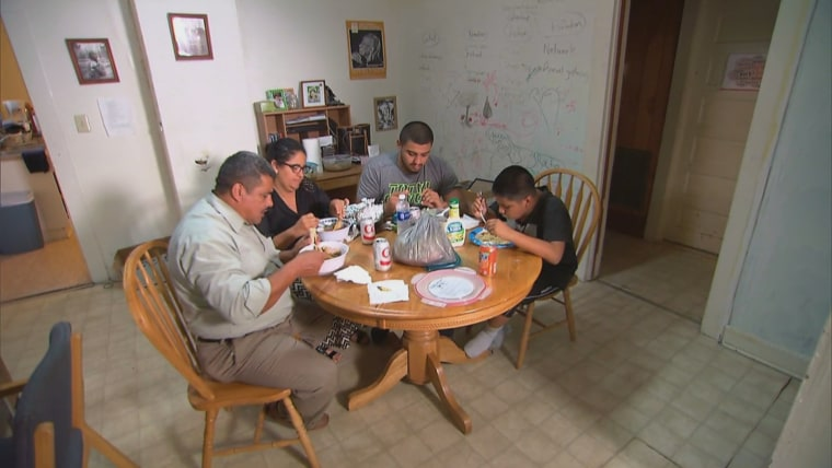 Pastor Jose Chicas, his wife Sandra Marquina and two of their children in Durham, North Carolina, where Chicas has sought sanctuary from deportation.