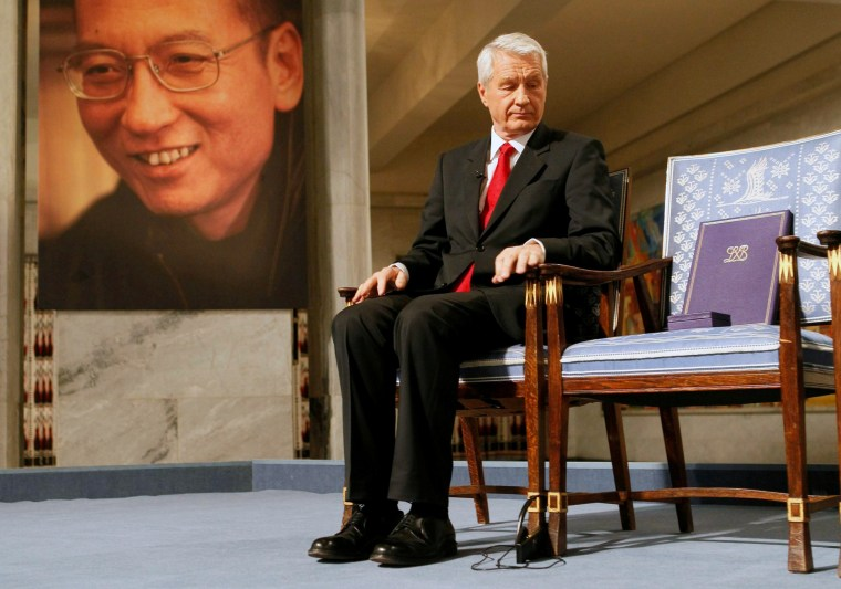 Image: The empty chair where this year's Nobel Peace Prize winner jailed Chinese dissident Liu Xiaobo would have sat