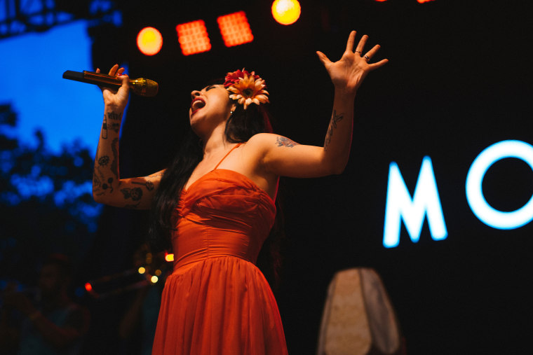 The artist Mon Laferte performing at the Latin American Music Conference (LAMC).
