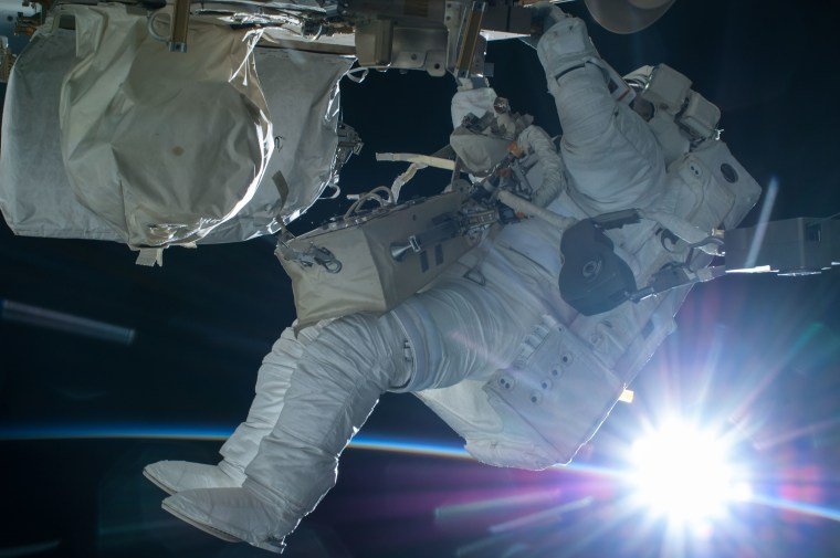 Terry Virts on his first spacewalk, when he spent almost seven hours outside the ISS.
