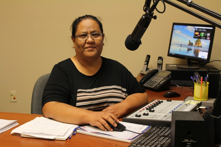 Lisa Lajwi, a member of the staff at KMRW 98.9 who previously worked at a radio station in the Marshall Islands.
