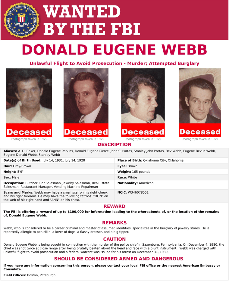 Image: An FBI Wanted Poster for Donald Eugene Webb
