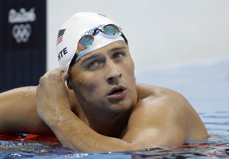FILE - In this Tuesday, Aug. 9, 2016, file photo, United States' Ryan Lochte checks his time in a men's 4x200-meter freestyle heat at the 2016 Summer Olympics, in Rio de Janeiro, Brazil.