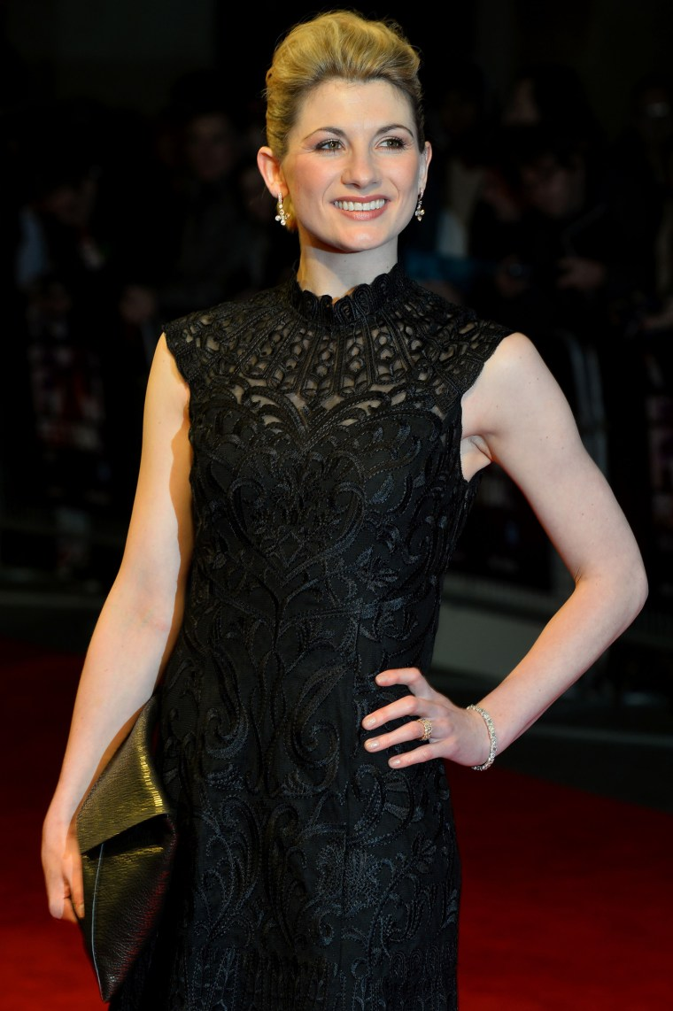 """Image: Jodie Whittaker poses on the red carpet at the U.K. premiere of her film """"Hello Carter"""""""