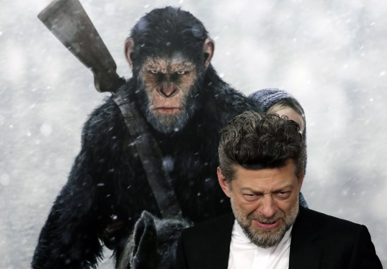 British actor Andy Serkis reacts as he arrives for the 'War for the Planet Of The Apes' premiere at SVA Theater in New York on July, 2017.