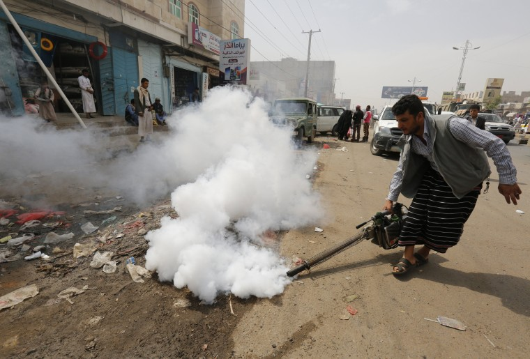 Image: A Yemeni sanitation worker fumigates a residential area