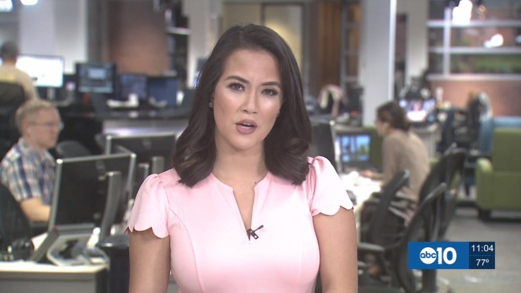 Frances Wang, an ABC 10 anchor based in Sacramento, California, seen wearing the Sidefeel scallop pleated dress in pink.