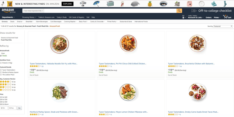 Amazon meal kits