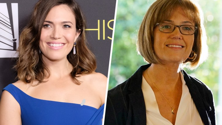 "What a difference: Mandy Moore at age 33 and her ""This Is Us"" character, Rebecca Pearson, at 66."