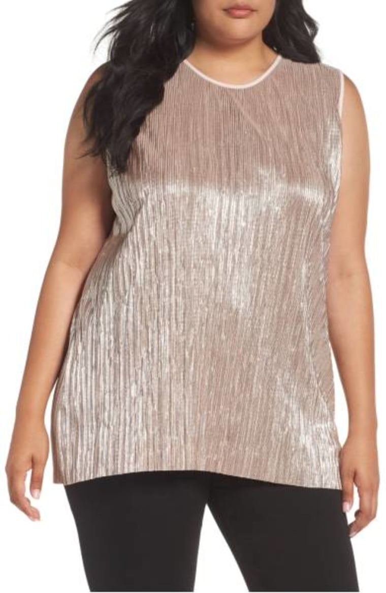 Crushed Foil Pleated Top