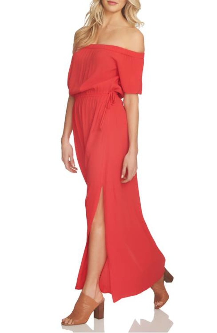 1.State Blouson Off the Shoulder Maxi Dress