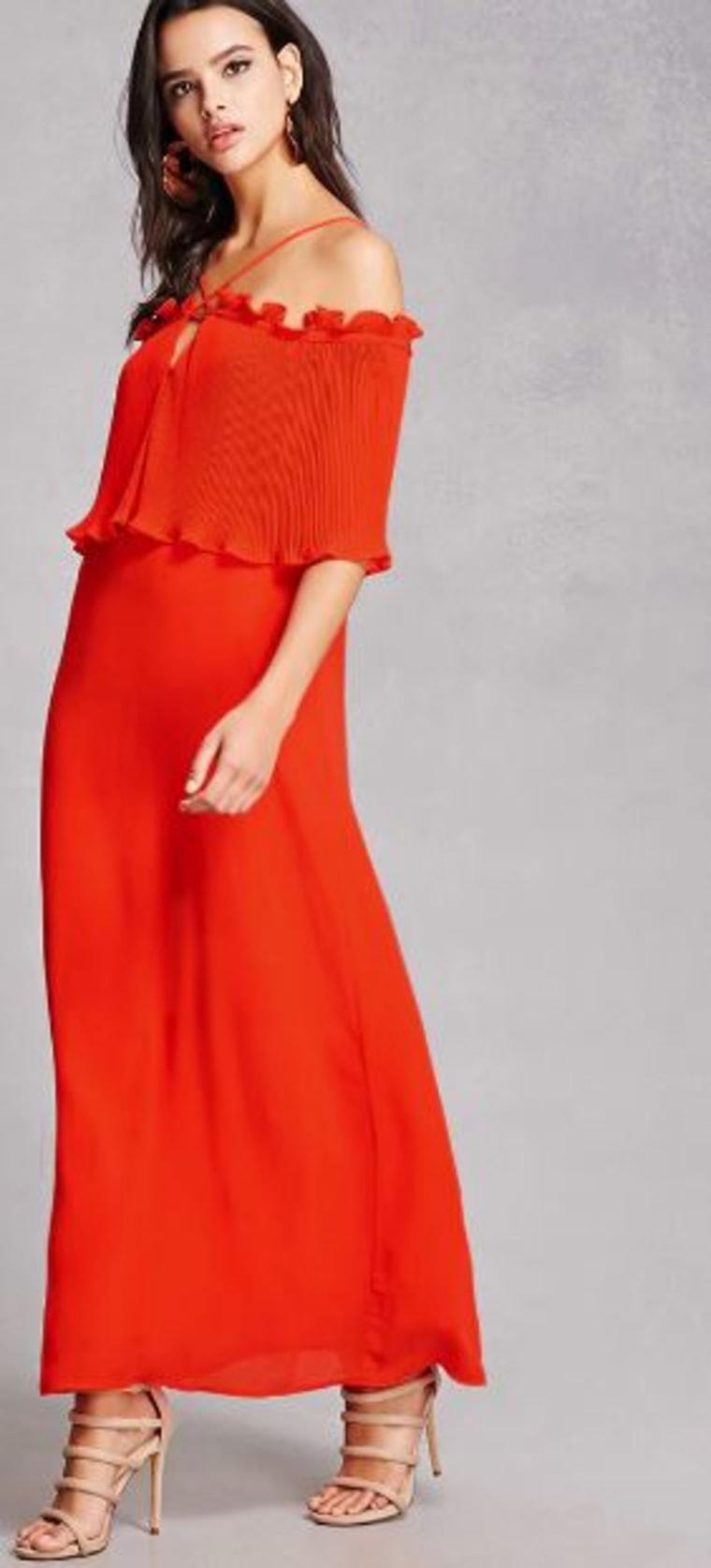 Open-Shoulder Maxi Dress,