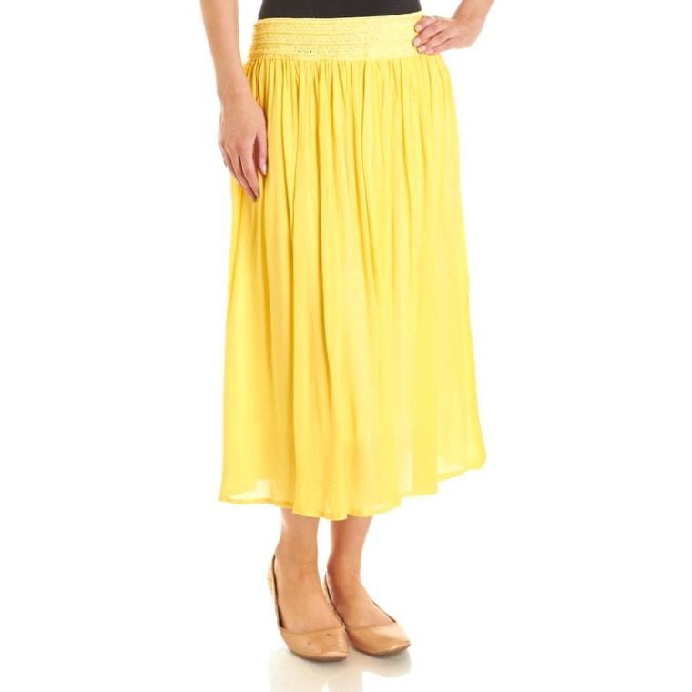 Crochet Waist Gauzy A-Line Midi Skirt