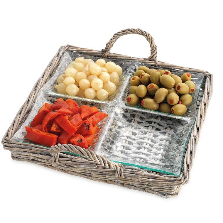 Glass Dish with Wicker Serving Tray