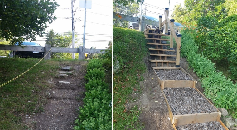 What the embankment leading to Tom Riley Park looked like without the stairs, left, and after Adi Astl built a set of steps.