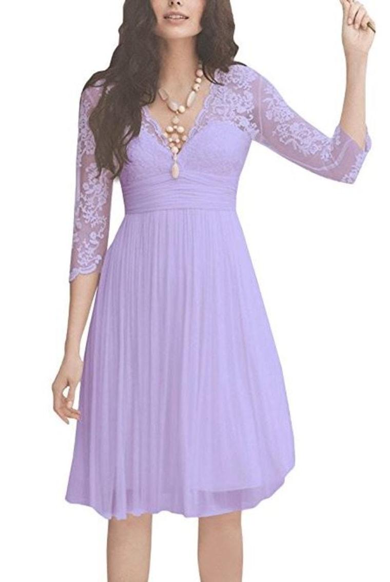 Long Sleeve V Neck Dress