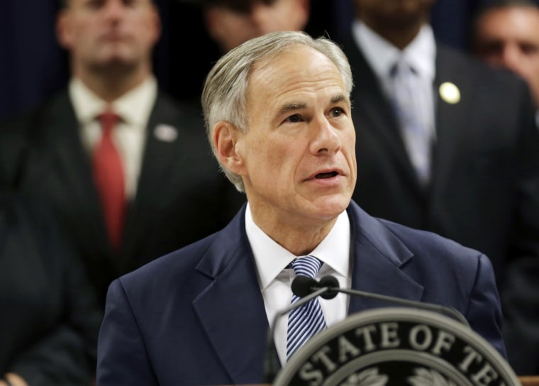 Image: Texas Gov. Greg Abbott speaks at a news conference in Houston