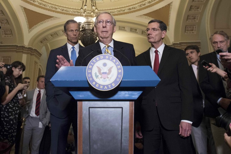 Image:  McConnell speaks about the Senate Republican's healthcare bill at the U.S. Capitol