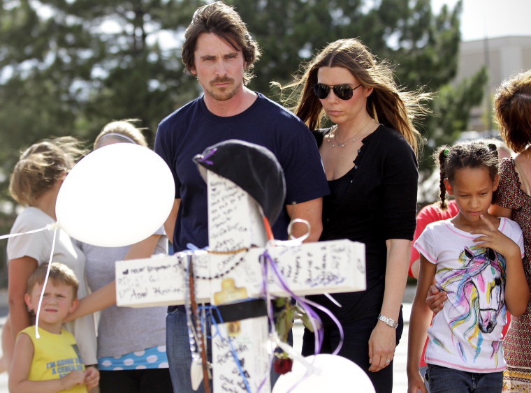 """Image: \""""Dark Knight\"""" Star Christian Bale Visits Aurora, CO After Theater Shootings"""