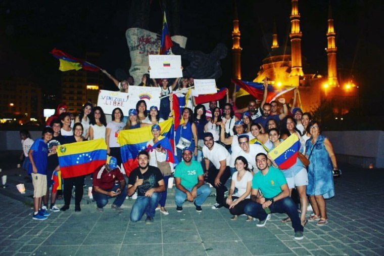 Rally in support of peace in Venezuela in Martyr's Square, Beirut, Lebanon.