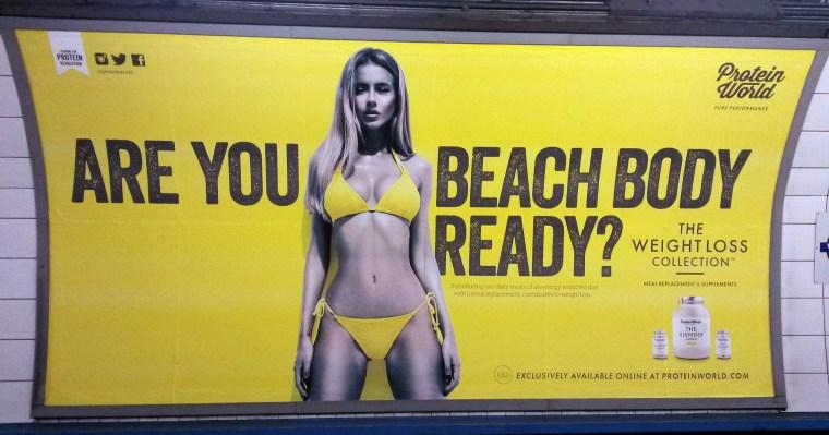 Image: Protein World advert displayed in an underground station in London
