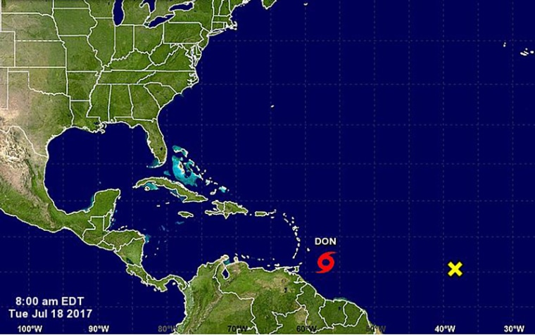 A map shows the location Tropical Storm Don in the Atlantic on Tuesday.